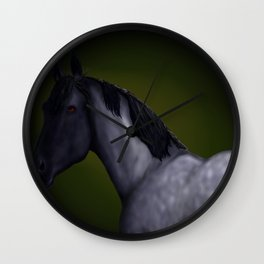 Blue Roan Dappled with Yellow/Green Background Wall Clock