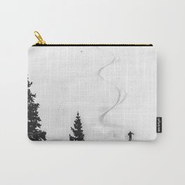 Backcountry Skier // Fresh Powder Snow Mountain Ski Landscape Black and White Photography Vibes Carry-All Pouch