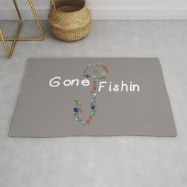 Gone Fishin Fishing Lures and Hooks on Gray Background Rug