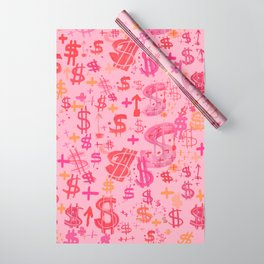Pink Dollar Signs Wrapping Paper