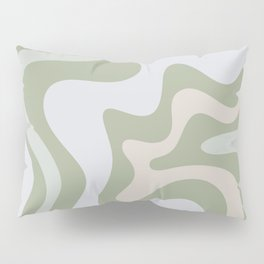 Liquid Swirl Contemporary Abstract Pattern in Light Sage Green Pillow Sham