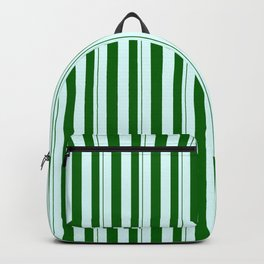 Light Cyan & Dark Green Colored Lined Pattern Backpack