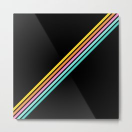 Minimal Abstract Retro Stripes 80s Style - Bakunawa Metal Print