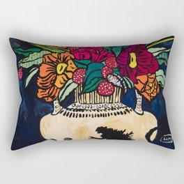 Godzilla Greek Urn with Peony Bouquet Winter Floral Still Life Painting Rectangular Pillow
