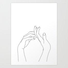 Hands line drawing illustration - Abi Kunstdrucke