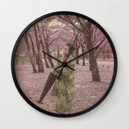 Geisha among Cherry Blossom trees Wall Clock