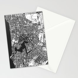 Perth Map Gray Stationery Cards