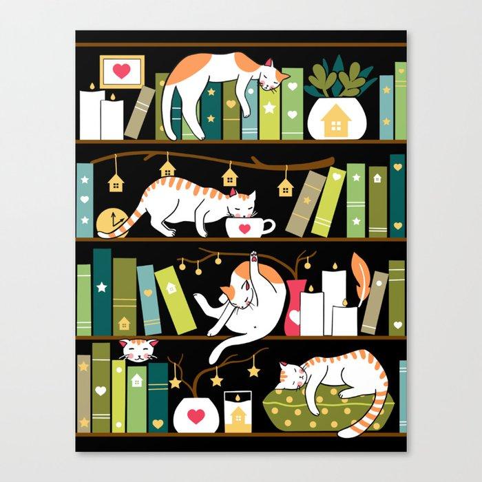 Library cats Leinwanddruck