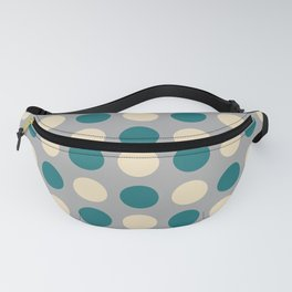 Mid Century Modern Polka Dots 933 Beige Teal and Gray Fanny Pack