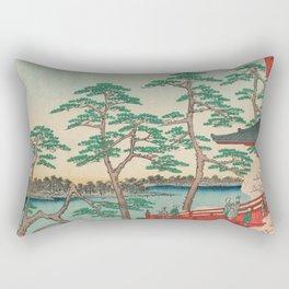 Spring Blossoms and Pond Ukiyo-e Japanese Art Rectangular Pillow