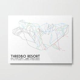 Thredbo, NSW, Australia - Minimalist Trail Map Metal Print