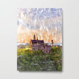 Sunset German Castle. For Vintage Castle Lovers. Metal Print