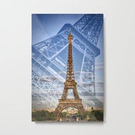 Eiffel Tower Double Exposure II Metal Print