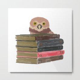 Owl with books Metal Print