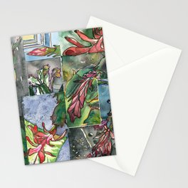 Christmas Cactus - Watecolor Painting Collage / Botanical Art / Floral Illustratin Stationery Cards