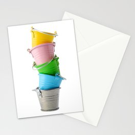 Colorful buckets, stacked vertically Stationery Cards