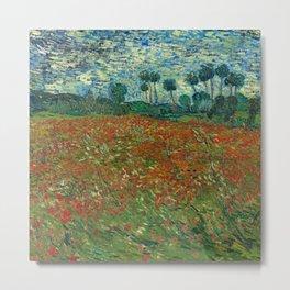 Fun Neck Gaiter Vincent Van Gogh Field With Poppies Neck Gator Metal Print