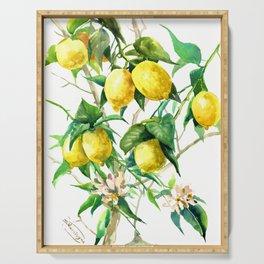 Lemon Tree. lemons kitchen art Serving Tray