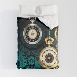Clock with Gears on Green Background ( Steampunk ) Comforters