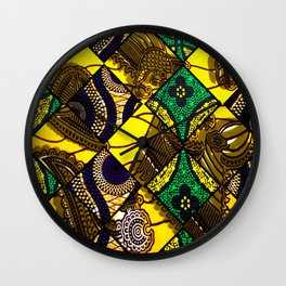 Groovy Mardi Gras African Print Wall Clock