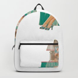 Vintage Pinup Girl Clipart Primping at the Mirror Backpack