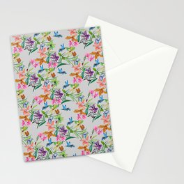 print of flowers, plants and hummingbirds Stationery Cards