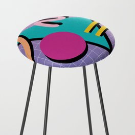 Memphis Pattern 10 - 90s - Retro Counter Stool