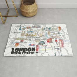 London UK Illustrated Travel Poster Favorite Map Tourist Highlights Rug