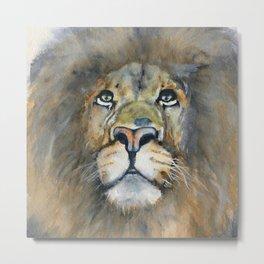 Lion Portrait - Watercolor Art 'His Majesty' Metal Print