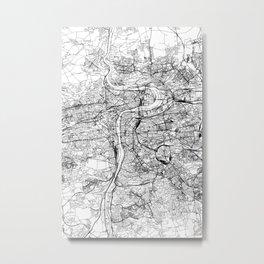 Prague White Map Metal Print