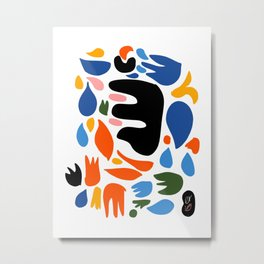 Abstract Floral Decorative Pattern Gouache Découpées Metal Print