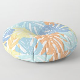 Monstera leaves Colorful Jungle leaves Palm leaves Tropical art Floor Pillow