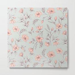 Romantic Vintage Floral Pattern light pink and blue Metal Print