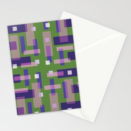 Purple and Green Block City Stationery Cards