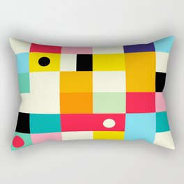 Geometric Bauhaus Pattern | Retro Arcade Video Game | Abstract Shapes Rectangular Pillow