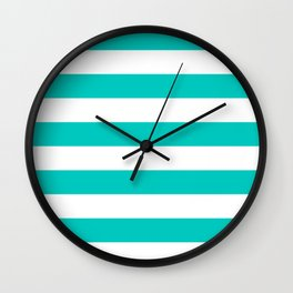 Turquoise and White Thick Horizontal Stripes Wall Clock