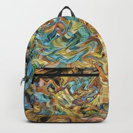 Abstract Turquoise and Gold By Greenness Backpack
