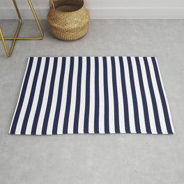 Navy Blue Sailing Stripe Pattern Rug