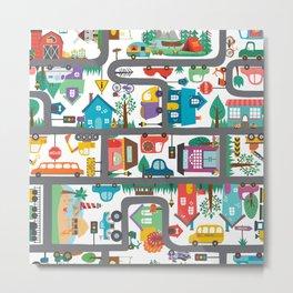 Cute Town Road Map  Metal Print