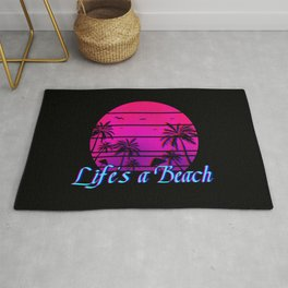 Life's A Beach Retro Palm Trees Gift Rug