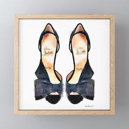 Black Bow Shoes - Watercolor Framed Mini Art Print