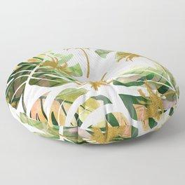 Monstera and golden tropical palms Floor Pillow