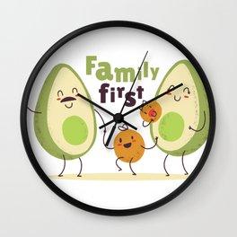 avocado family Wall Clock