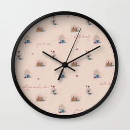 Romantic food pattern Wall Clock
