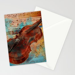 Violin Art Collage - mixed media Stationery Cards