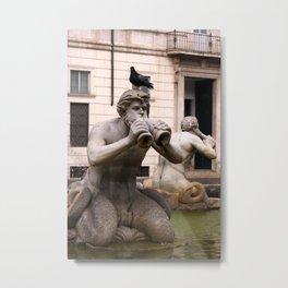 Triton Statue Metal Print