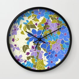 Turquoise and Lavender floral in relief Wall Clock