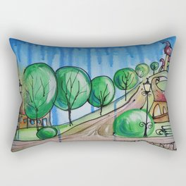 Landscape Painting Fairy town Acrylic S13 Contemporary Nursery Cityscape art for baby children kids Rectangular Pillow