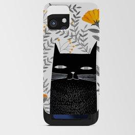 black cat with botanical illustration iPhone Card Case