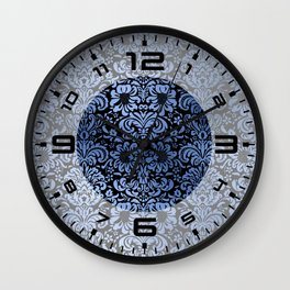 Classic Blue Swirls Damask 3 Wall Clock